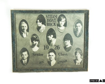 VINTAGE Steamboat Rock 1926 Class Photo Yearbook Iowa History Black and White Framed Original