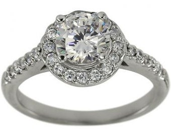 1 Carat Diamond Halo Engagement Ring In 14K White Gold With Pave Diamond Accents