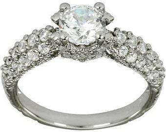 Pave Diamond Engagement Rings 1 Carat Diamond In 14k White Gold Ring