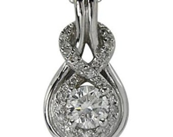 Love Knot Necklace In White Gold Set With A 47 Points Diamond & Diamond Accents