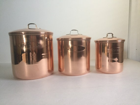 copper canister set kitchen vintage copper kitchen canister set of 3 16850