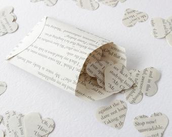 Lord of the Rings paper confetti, heart paper hearts Scrapbook confetti, Recycled book confetti Wedding confetti small envelopes