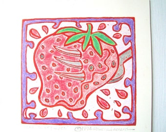 STRAWBERRY JUICE Print - 4.5X4.5. Linoleum Prints Kitchen Art Hand Colored Hand Printed Linocut Fruit Print Block Prints Handmade Gifts