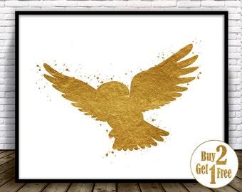 Owl art print, owl wall decor, owl print, owl painting, Gold Wall art, living room wall art, Gold Home Decor, owl illustration, owl wall art