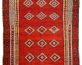 3.4' x 5.5' ( 104cm x 170cm ) hand made antique Uzbek Gulyam rug 1920