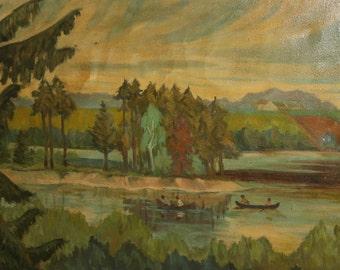 Vintage river landscape oil painting