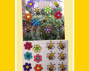 Bees and flowers window cling set, handpainted for glass & mirror surfaces, reusable faux stained glass effect decals, suncatcher decal