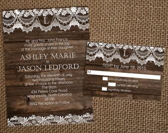 Wood & Lace Wedding Invitation