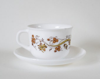 Set of Four Arcopol Cups and Saucers from France - Brown Florals