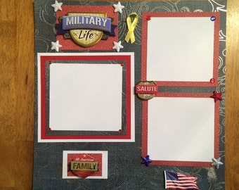 "12x12 Premade Scapbo Page, Complete-""Military"""