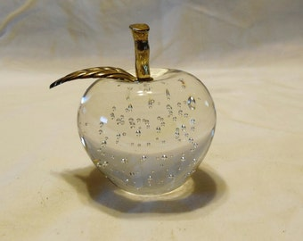 Apple brass and glass paperweight