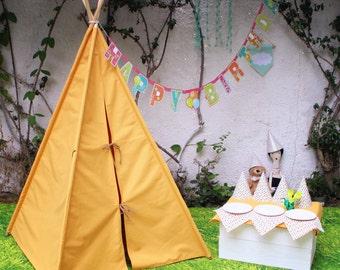 Teepee Tent Yellow / Tipi Vintage mustard