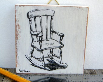 Miniature painting - black and white rocking chair print, print on wood, wall art print, Hipster decor