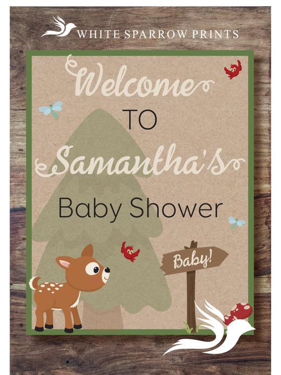 Woodland baby shower neutral baby shower by for Welcome home decorations for baby