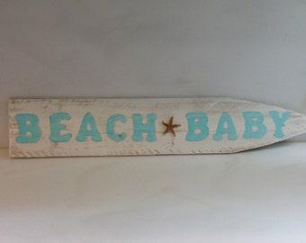 Handpainted beach signs, ,Beach Baby sign on wood picket, Beach decor, Coastal decor, Custom Signs, Starfish