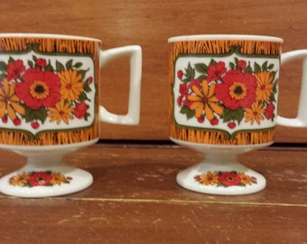 Vintage Footed Coffee Mugs/Cups