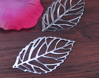 Metal Leaf Pendant --25pcs Silver Plated Leaves Charm Pendants 30mm x 53mm  jewelry supplies
