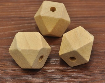 100pcs Natural Polyhedron Faceted Cube Wooden Beads 20mm,Geometric Wood Beads,DIY, Jewelry Supply, Wood Crafts