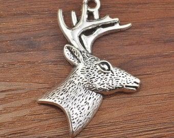 Antelope,Antelope Charm,Antelope Pendant,Antique Silver Tone 45x55mm-B5526
