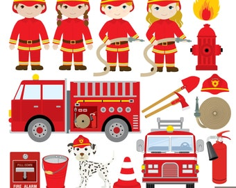 Firefighters Digital Clipart, Fireman Clipart