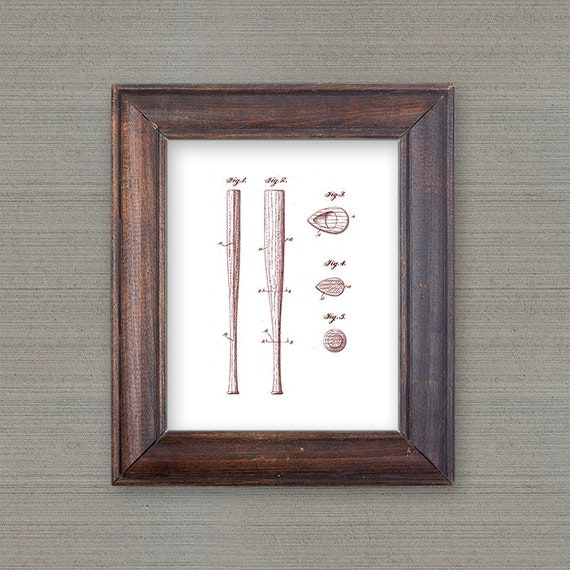 Vintage Baseball Wall Decor : Home decor baseball bat vintage patent prints