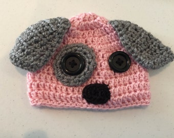 Puppy Dog Baby Girl Gift Set - Crochet Puppy Hat - Pink Baby Booties - Baby Girl Diaper Cover - Puppy Dog Hat for Baby - Newborn Photo Prop
