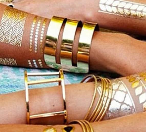 Metallic Gold & Silver Temporary tattoos Set - Angels, Nautical , Egyptian motifs