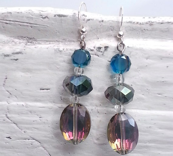 Iridescent Crystal Drop Earrings