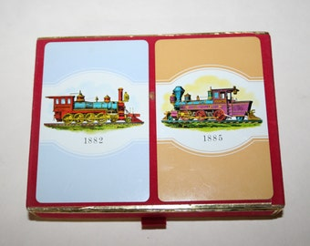 Vintage. Congress. Double deck playing cards. Trains, Locomotives.