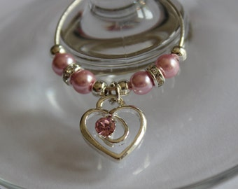 10 x Pink heart wine glass charms - wedding favours