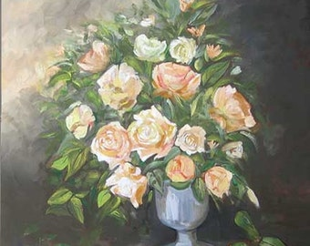 Original roses oil painting, handmade painting artwork home decor