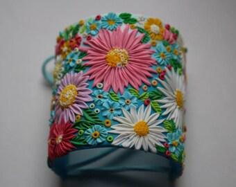 flower polymer clay cuff bracelet