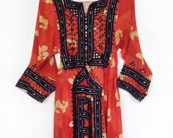 Vintage AFGHANI afghan embroidered UNIQUE handmade dress tunic
