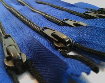 Nylon Zippers Coil 6.5 Inches #5 Closed (NON-SEPARATING) Black Teeth - Color 027 Blue (1 zipper)