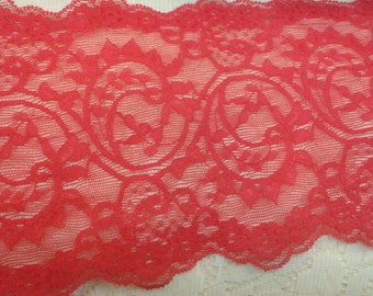5 5/8 Inch Stretch Lace Polyester - Red