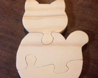 Wooden kitten puzzle