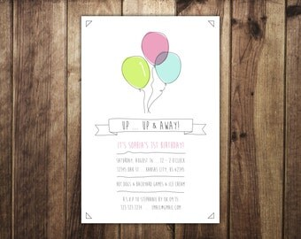 Girl or Boy First Birthday Balloon Invitation