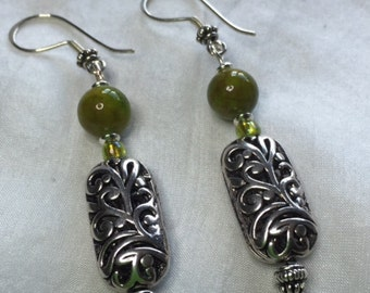 Green Jasper and Silver Earrings