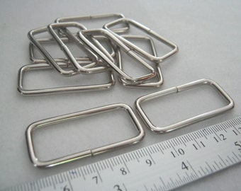 10 Pieces, 1.5 Inch. (38 mm./3.8 cm.) (inner) Nickel Rectangle Rings, Purse Making Accessories