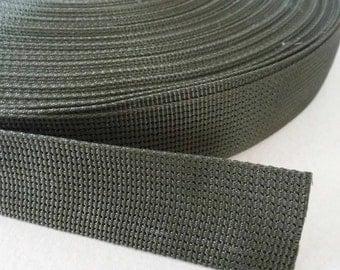 5 Yards, 1.25 inch (3.2 cm.), Polypropylene Webbing, Dark Green, Key Fobs, Bag Straps, Purses Straps, Belts, Tote Bag Handle.