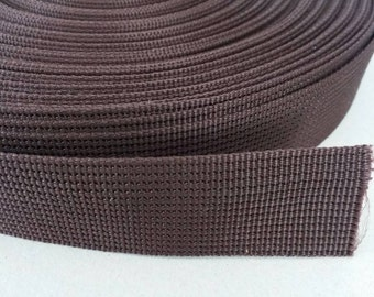 5 Yards, 1 inch (2.5 cm.), Polypropylene Webbing, Dark Brown, Key Fobs, Bag Straps, Purses Straps, Belts, Tote Bag Handle.
