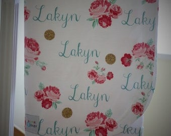 Cabbage Roses and Gold Dots Personalized Baby Blanket