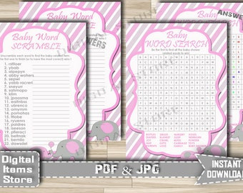 Printable Word Scramble and Word Search with Pink Elephant - Baby shower Word Scramble Word Search Elephant Pink - Instant Download - ep11