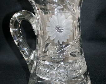 "Vintage American Brilliant Period Pitcher Cut Crystal Glass 9.5"" Tall"
