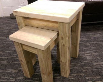 Nest of tables using reclaimed and recycled wood