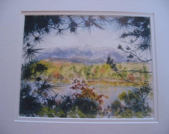 Watercolor print of Mt. Katahdin, Maine by native Maine artist Bernadine Evers