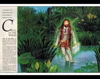 "Kinuko Y. Craft Illustraion Playboy Vintage Pinup ""Call Of The Wild"" Wall Art Deco Print 2 page spread"