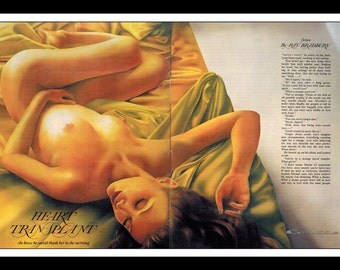Philip Castle Illustration Playboy Pinup Girl Vintage January 1981 Sexy Nude Mature 2 Page Pinup Wall Art Deco Print