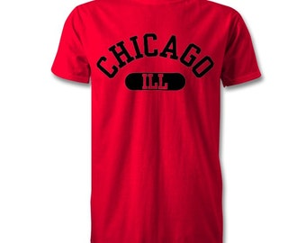Chicago City State T-Shirt - Kids and Adult Sizes Available - Red/Black