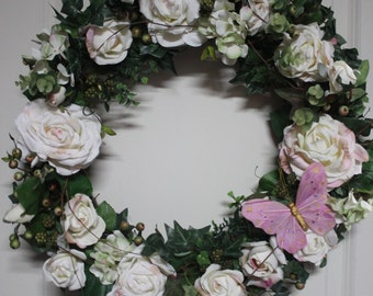Spring Wreath, Rose Wreath, Wedding Decor, Spring Wreath for Front Door, Silk Floral Wreath, Housewarming, Mother's Day Gift, Summer Decor